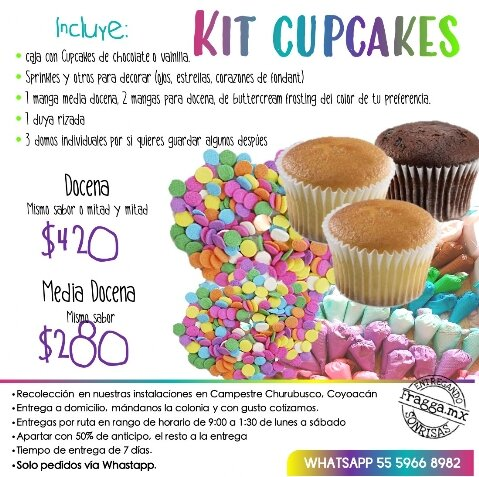 Especificaciones Kit Cupcakes